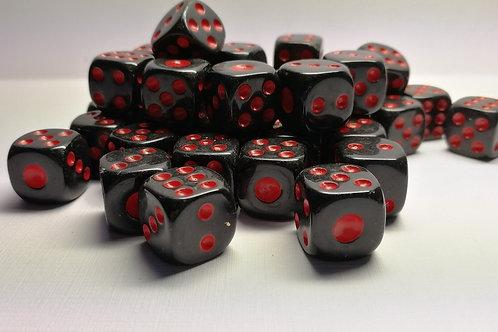 Кубик черный с красными точками 12 мм