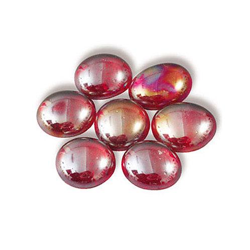 Марблс плоский красный перламутр 16-18 мм
