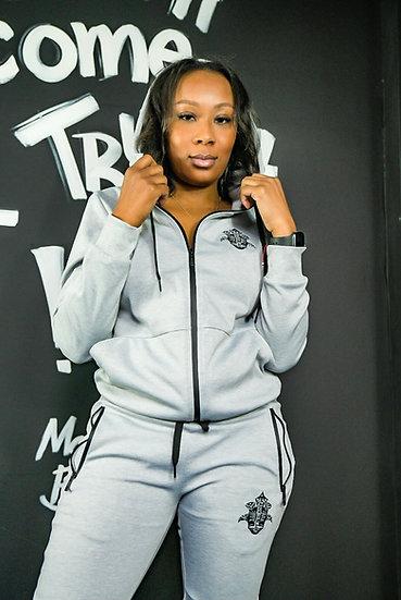 Gray and Black woman fleece set