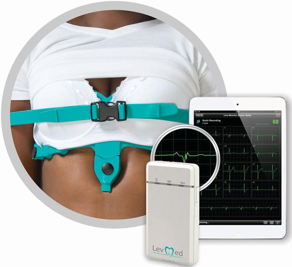 reusable Levmed ECG Belt and  levmed portable mobile ECG device