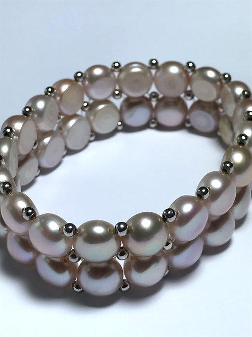 Large 2 Row Half Round Mauve Pearls Stretch Bracelet