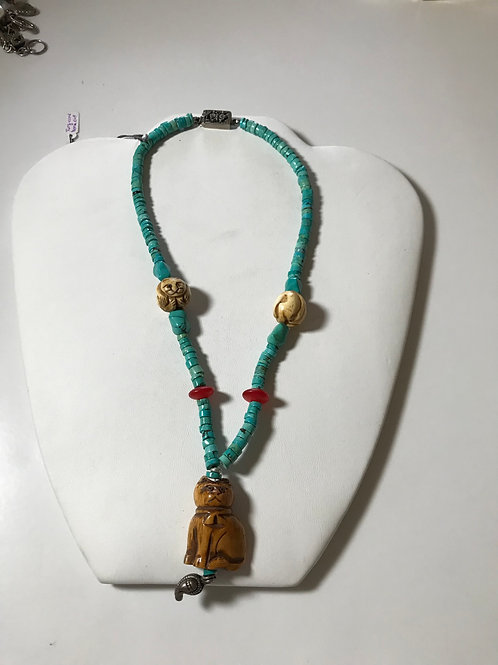 Designer Turquoise Coral Necklace with Cat Netsuke Carvings