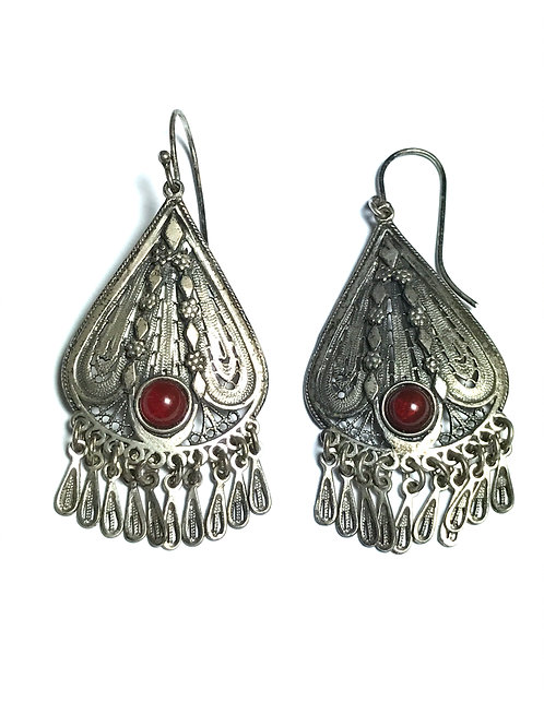 Hand Made Large Dangle Filigree Carnelion Sterling Silver Earring