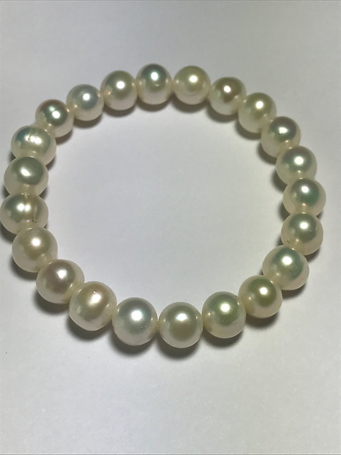 10mm Cultured Freshwater White Pearl Stretch Bracelet
