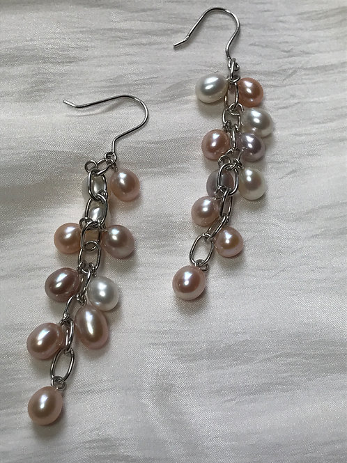 Chandelier Pastel Colored Pearl Sterling Silver Earrings