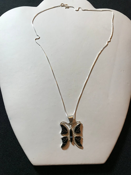 Black Onyx & Opal Inlay Butterfly Silver Pendant