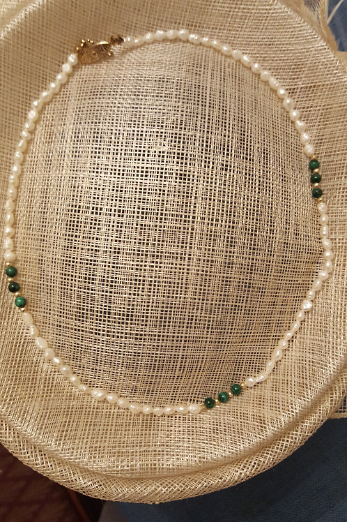 Freshwater Pearl and Malachite Necklace