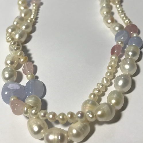 Pearl, Agate and Rose Quartz Necklace