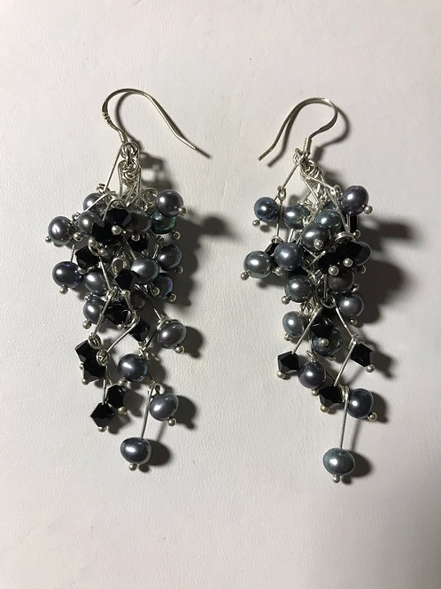 """Black Pearl 3"""" Dangly Earrings Black Crystals Silver"""