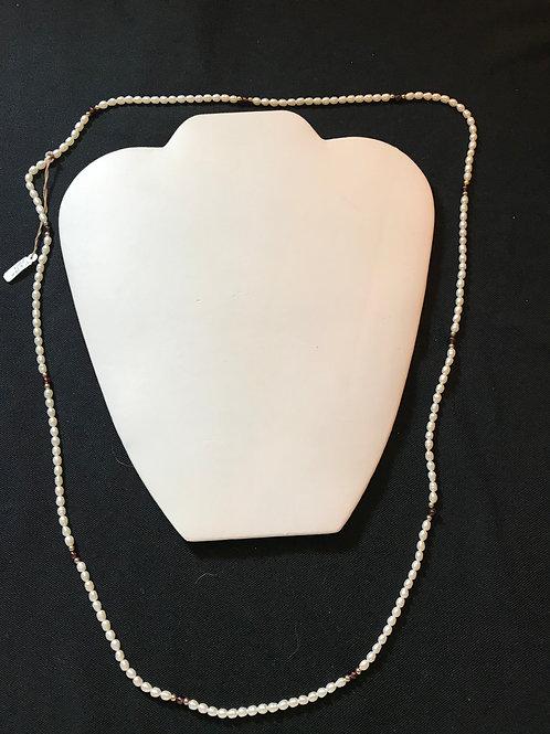"Long Freshwater Pearl & Garnet Necklace 30"""