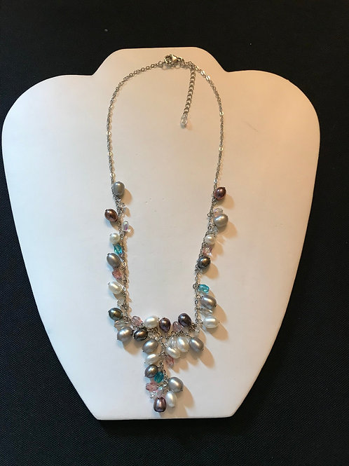 Grey Tones Pearl & Crystal Necklace