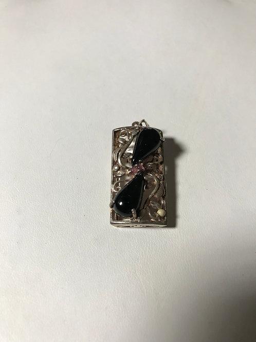 Black Onyx & Tourmaline Sterling Silver Pendant