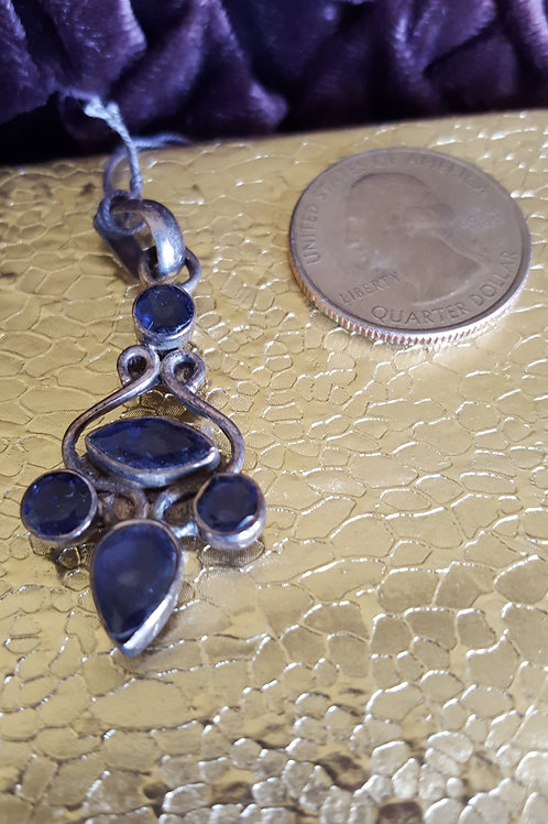 Purple Iolite and Sterling Silver Pendant