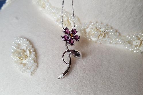 Rhodolite Garnet Flower Sterling Silver Pendant Necklace