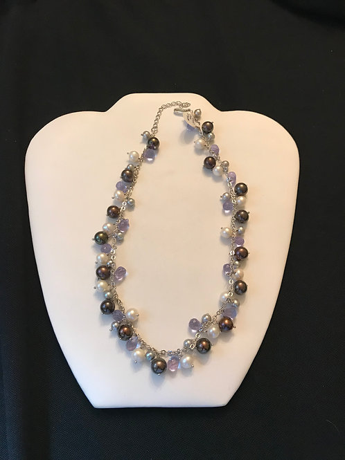 Shades of Grey Pearl Purple Crystal Silver Necklace