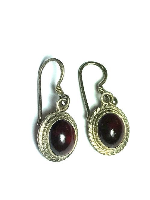 Oval Garnet Earrings Set in Detailed Sterling Silver