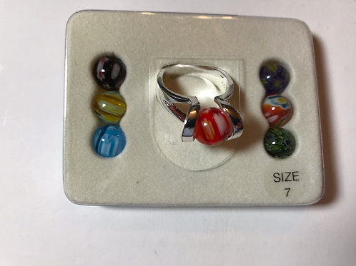 Sterling Silver Ring with Interchangeable Glass Beads
