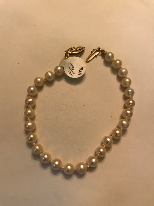 White Freshwater Pearl Bracelet with Gold Filled Fish Hook Clasp