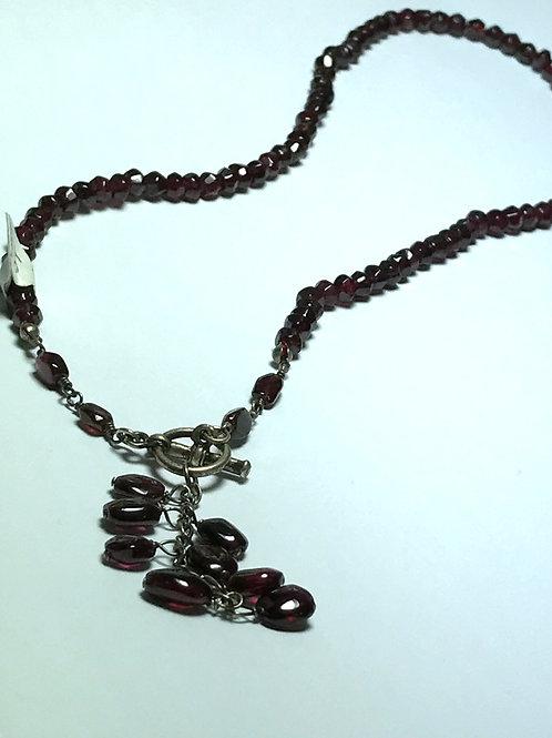 """Faceted Garnet """"Y"""" Necklace"""