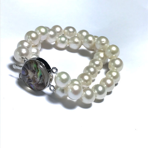2 Row  Cultured Freshwater Pearl Bracelet Colorful clasp