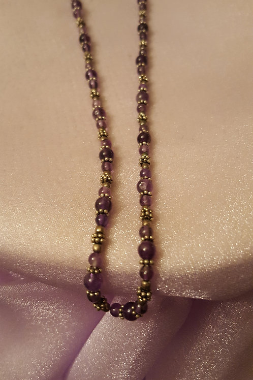 """18"""" Amethyst Gemstone and Sterling Silver Necklace"""