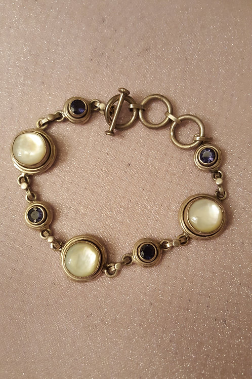 Mother of Pearl and Iolite Sterling Silver Bracelet
