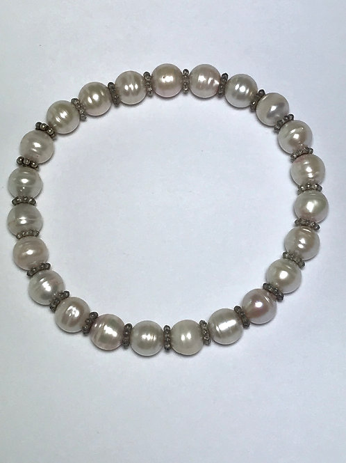 Cultured Freshwater Pearl Stretch Bracelet with Silver Spacers