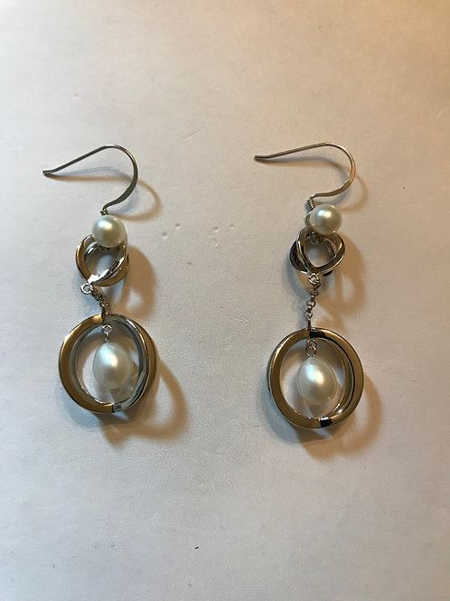 White Pearl Hanging from Sterling Silver Sphere