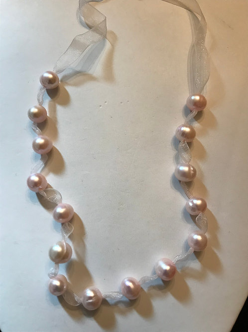 Pink Pearls on Pink Ribbon Necklace