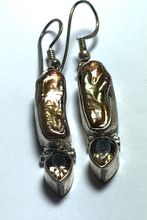 Peacock Biwa Stick Freshwater Pearl Sterling Earrings with Amethyst