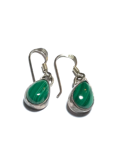 American Indian Made Malacite  Sterling Silver Earrings