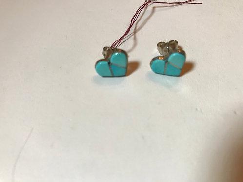 Zuni Turquoise Heart Earrings