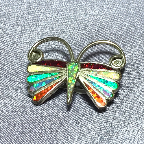 American Indian Made Opal Butterfly Sterling Silver Pin/Pendant