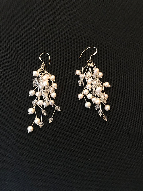 White Pearl Earrings with White Crystals Silver
