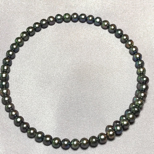 Peacock Black Freshwater Pearl Choker Necklace