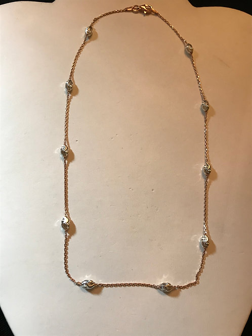 Pink & White Sterling Silver Chain