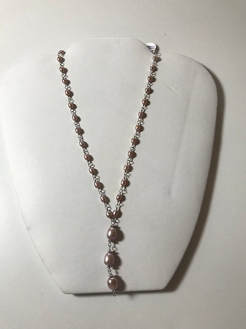 """Peacock Black Freshwater Pearl Sterling Silver """"Y"""" Necklace"""