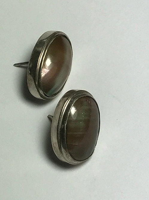 Designer Deep Lavender Grey Colored Nautilus Shell Sterling Silver Post Earrings