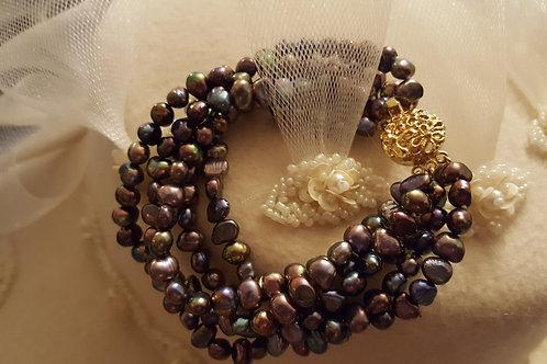5 Strand Cultured Peacock Black Freshwater Pearl Bracelet