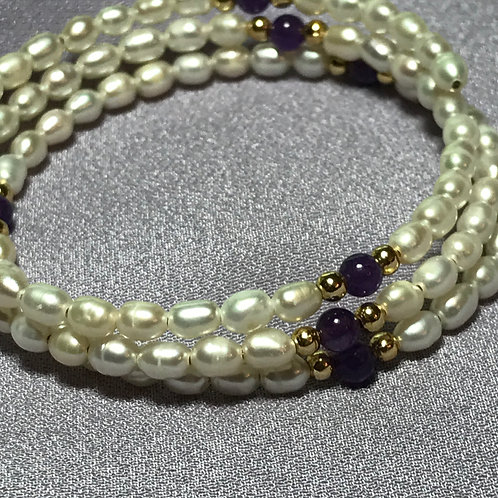 3 Row White Pearl Bracelet on Memory Wire