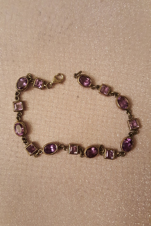 Amethyst Gemstone and Sterling Silver Bracelet