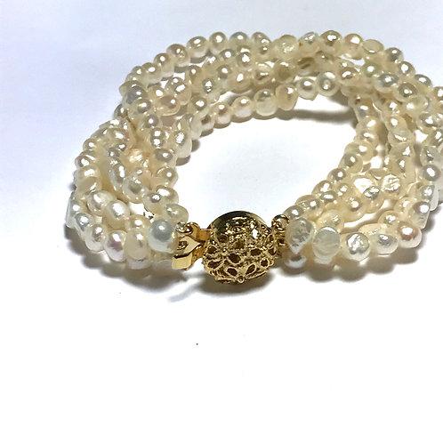 5 Strand Cultured White Freshwater Pearl Bracelet