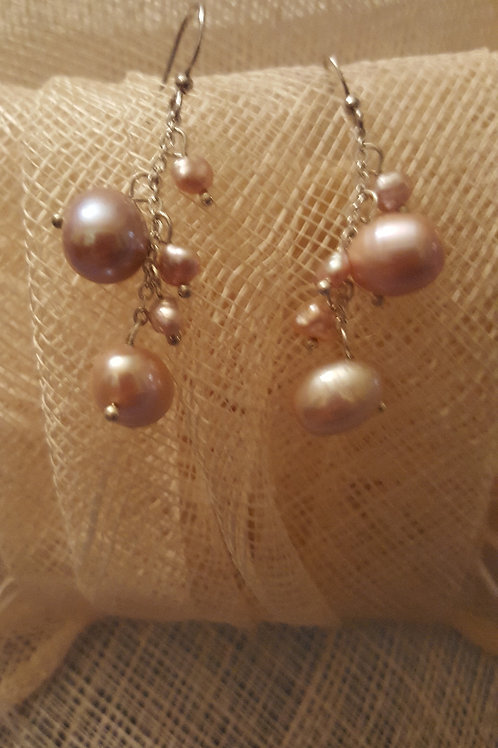 Long Dangly Mauve Color Pearl Silver Earrings