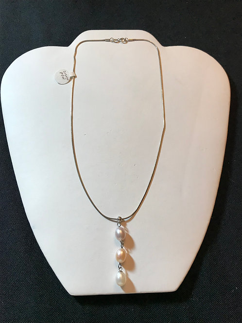 3 Pastel Pearls on Sterling Silver Snake Chain