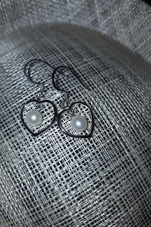 White Pearl Earrings Swinging in Sterling Silver Heart