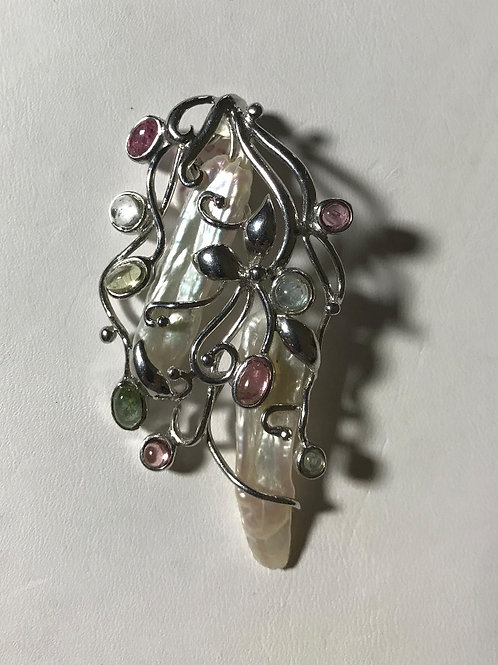 Graceful Biwa Pearl Tourmaline Silver Pendant