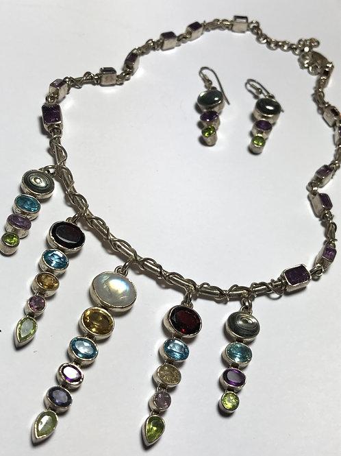 Beautiful Contemporary Multi-Gemstone Necklace