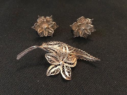 Victorian Silver Filigree Earrings & Brooch Set