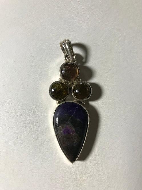 Green Tourmaline and Purple Sugilite Silver Pendant