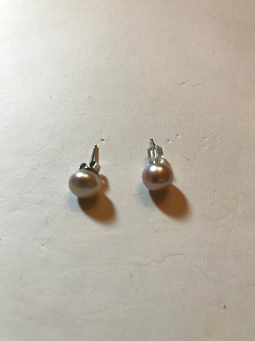 Mauve 7.5 Freshwater Pearl Earrings Silver Post